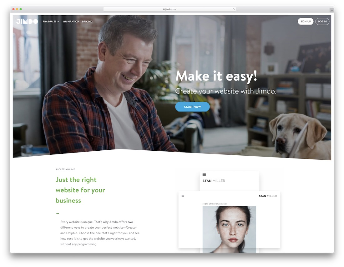 jimdo free one page website builder