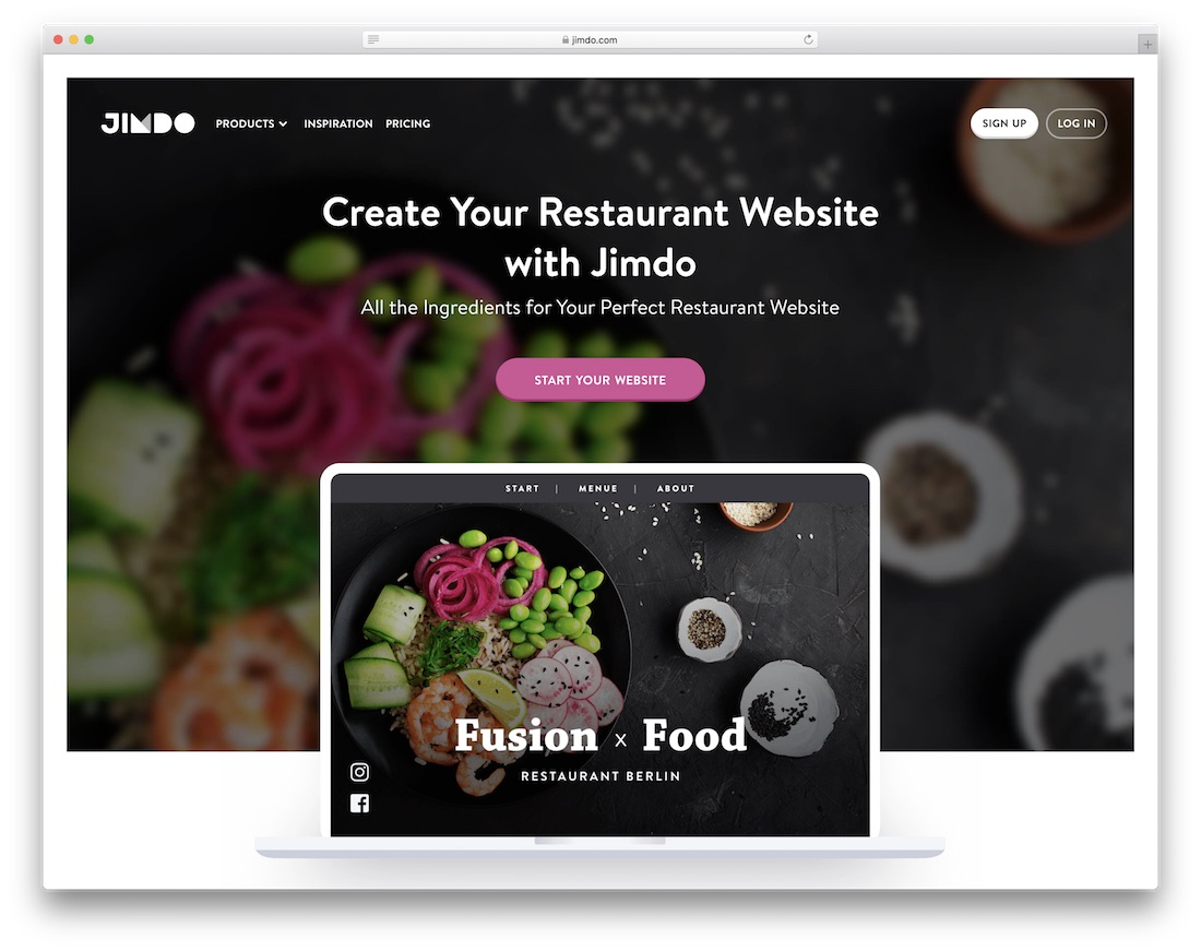 jimdo restaurant website builder