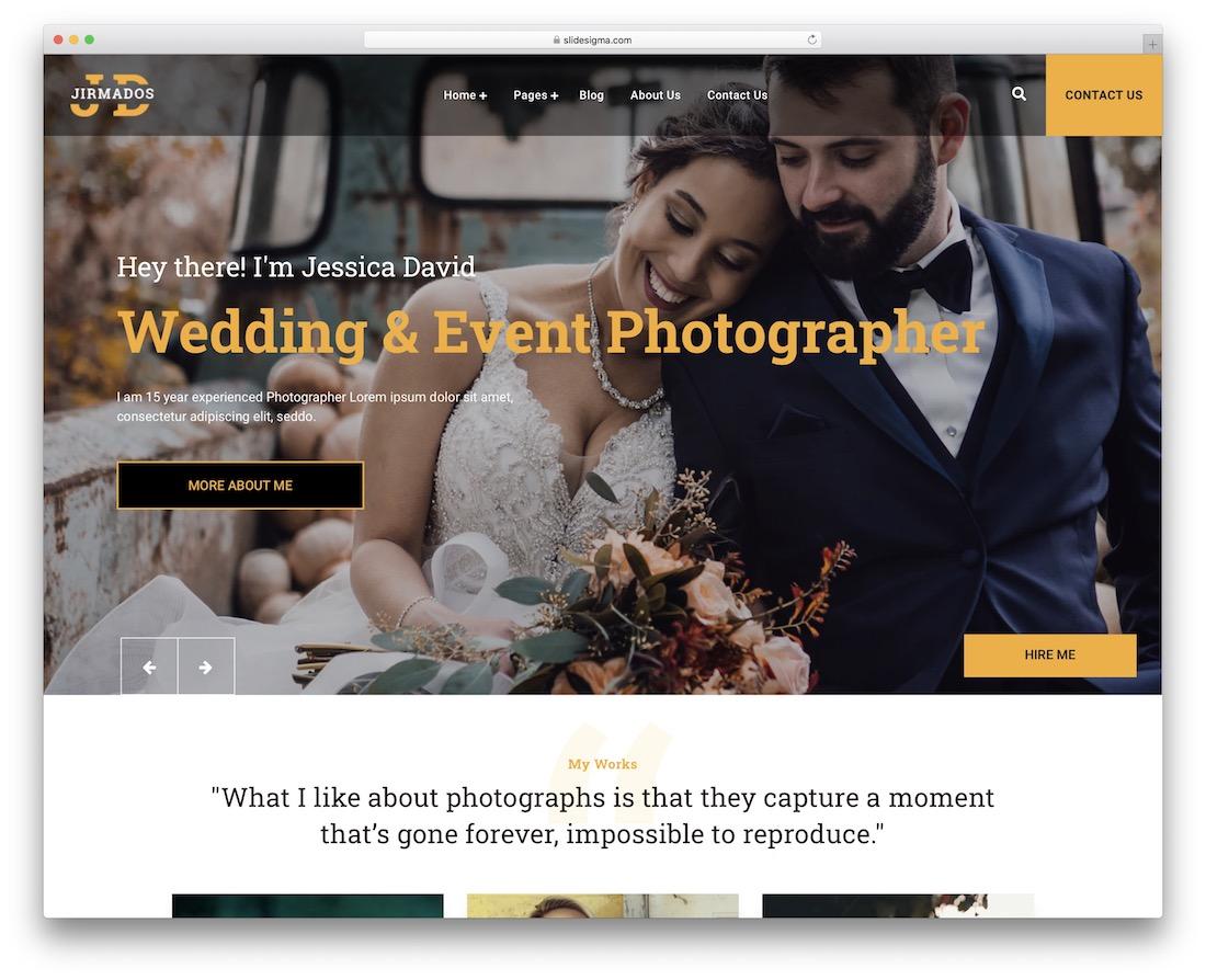 jirmados wedding photography wordpress theme