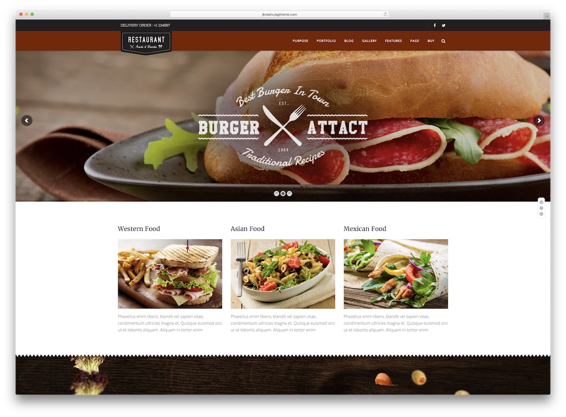 jkreativ parallax catering wordpress theme