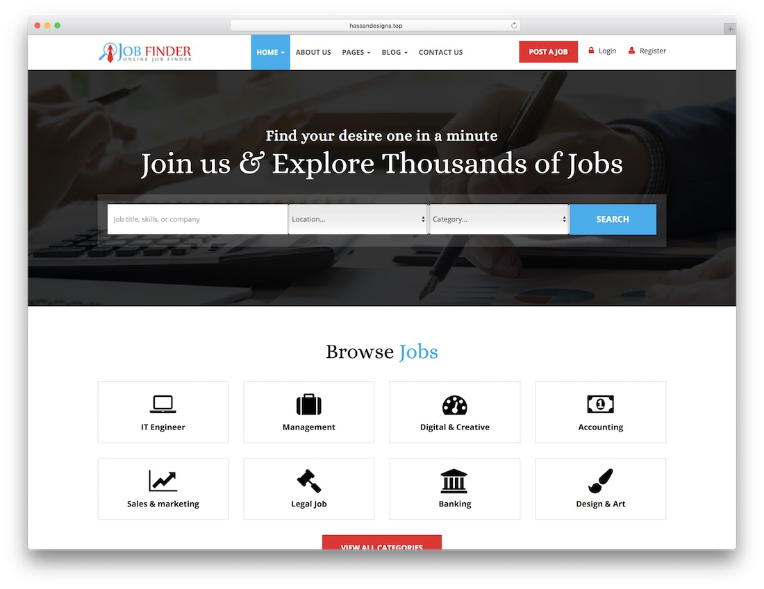 job finder html5 website template