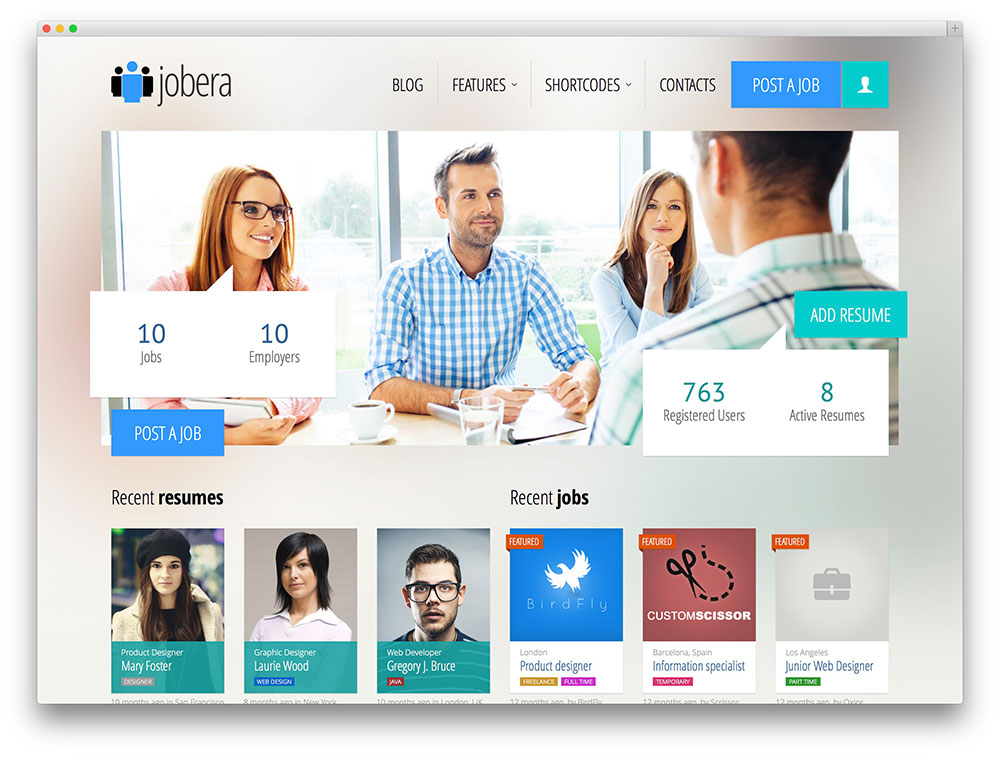 jobera - clean job board WordPress theme