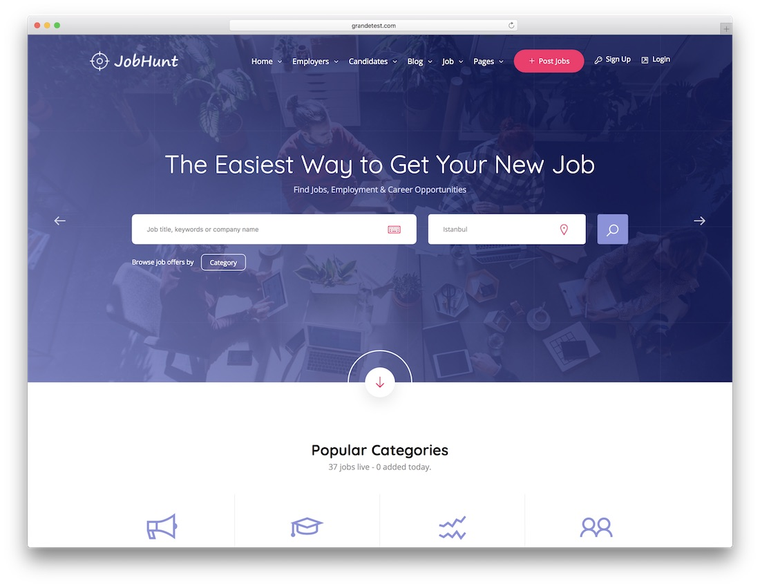 jobhunt html5 website template
