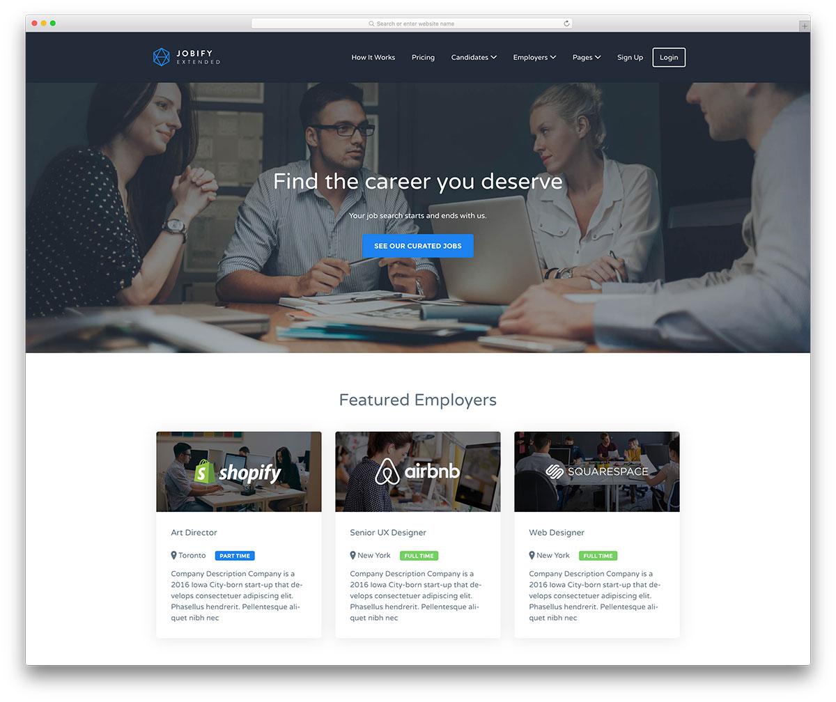 jobify popular job board website design