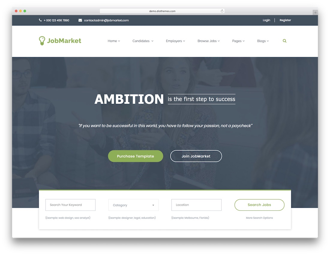 jobmarket html5 website template