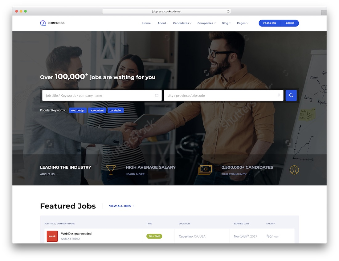 jobpress html5 website template