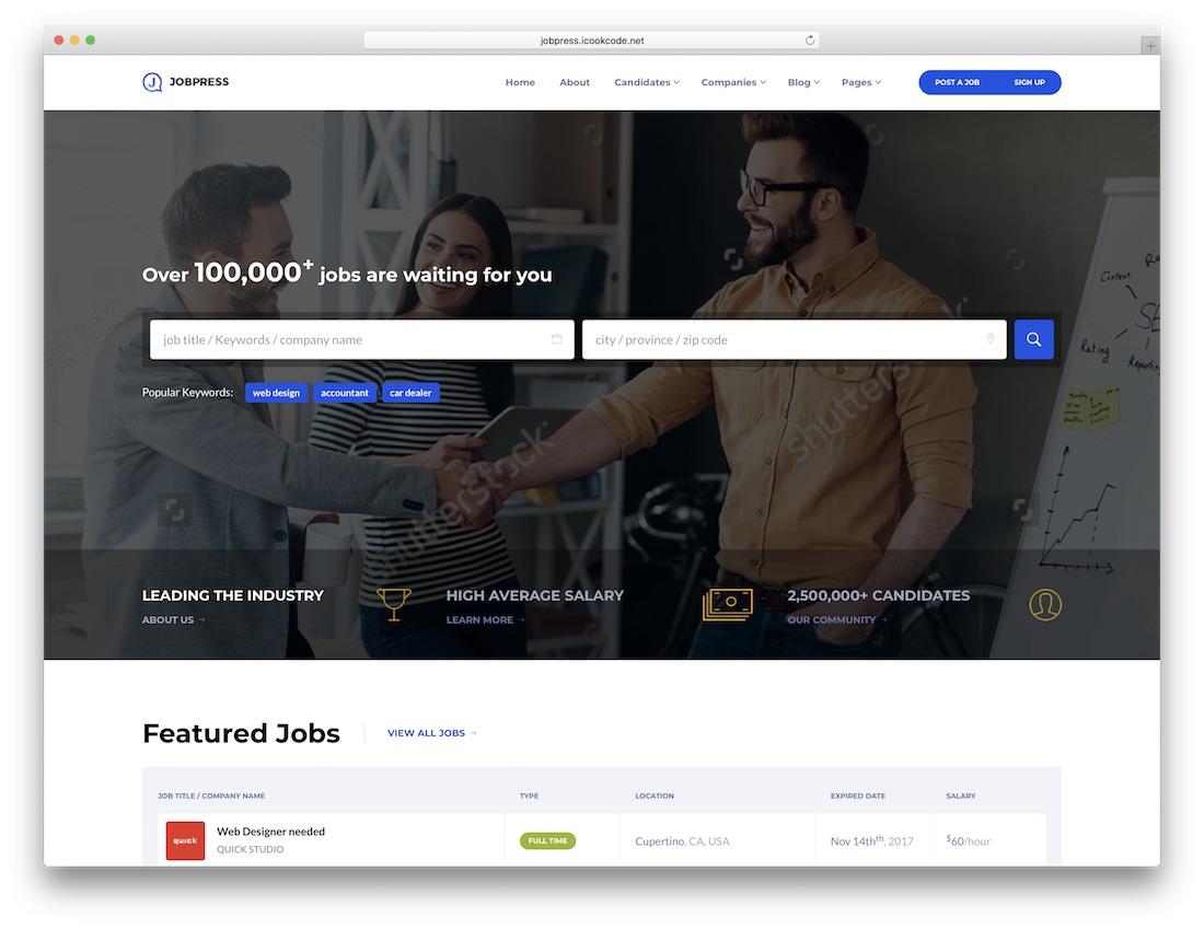 jobpress html5 website template