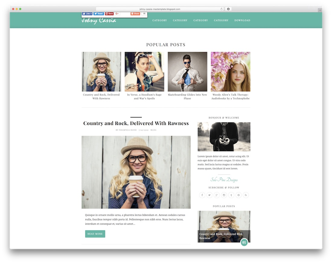 johny cassia free blogger template