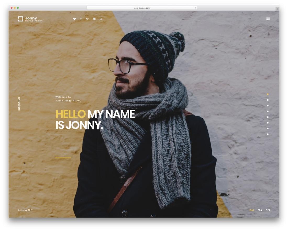 jonny html resume cv website template