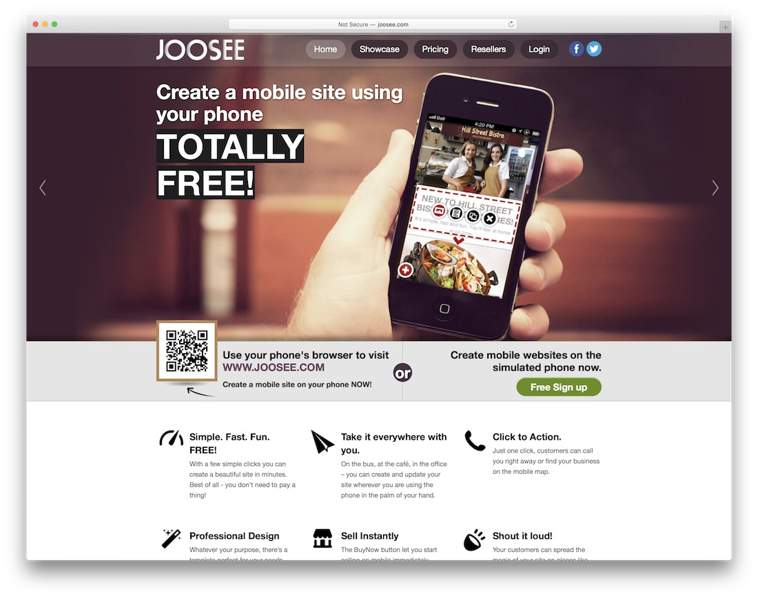 joosee mobile-friendly website builder