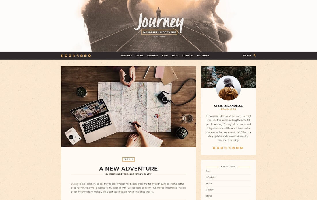 journey wordpress instagram theme