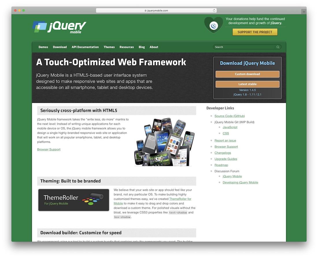 jquery mobile html5 framework