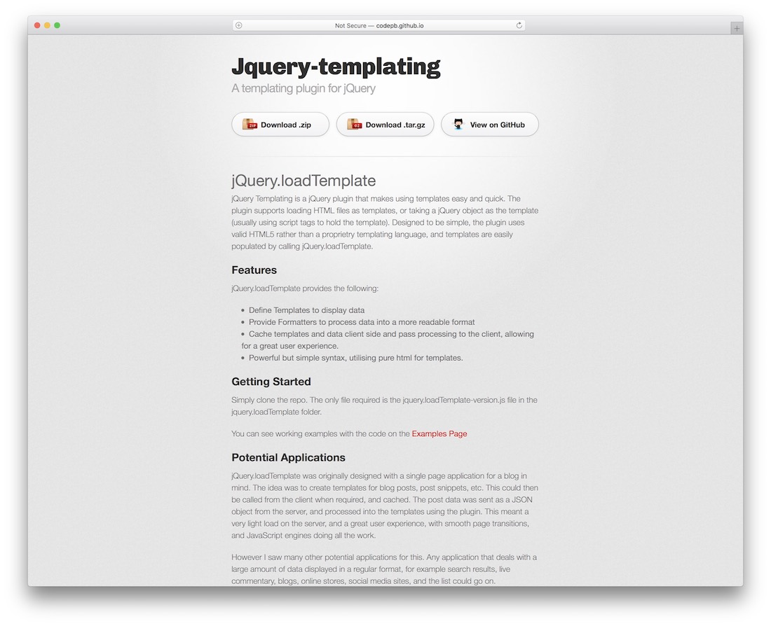 jquery templating