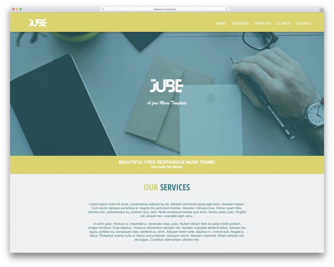 jube free adobe muse template
