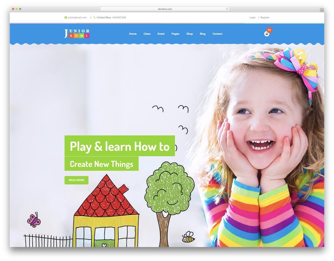 juniorhome 학교 웹 사이트 템플릿