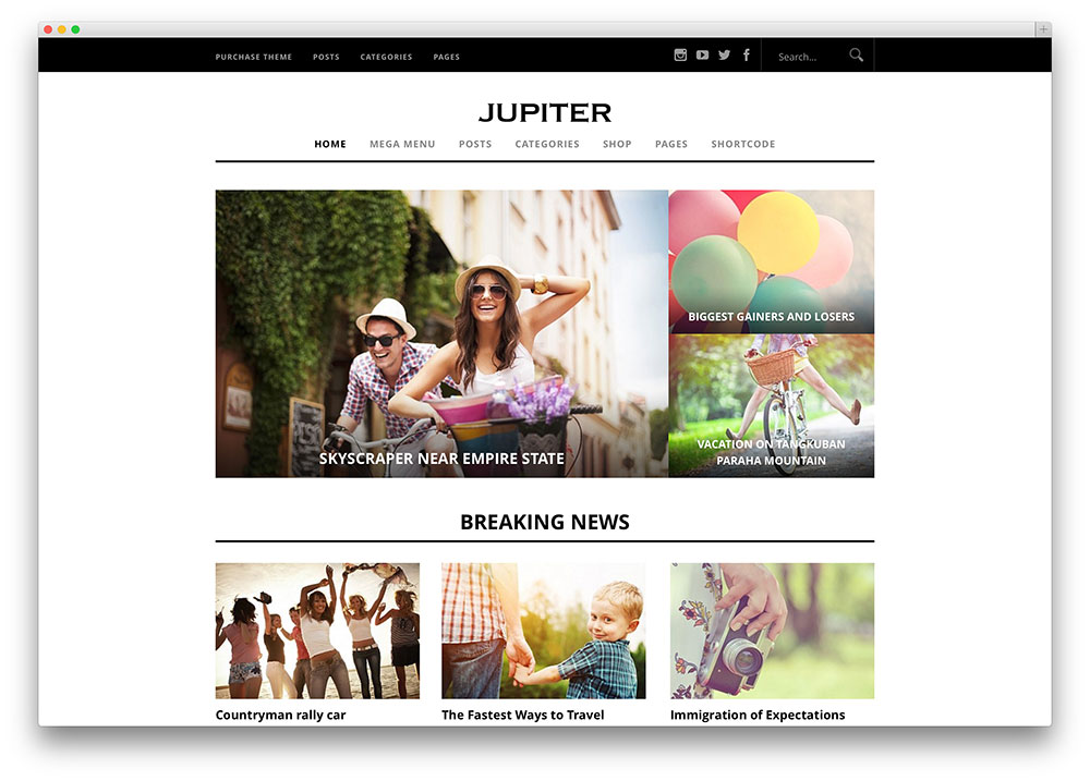 jupiter simple magazine theme