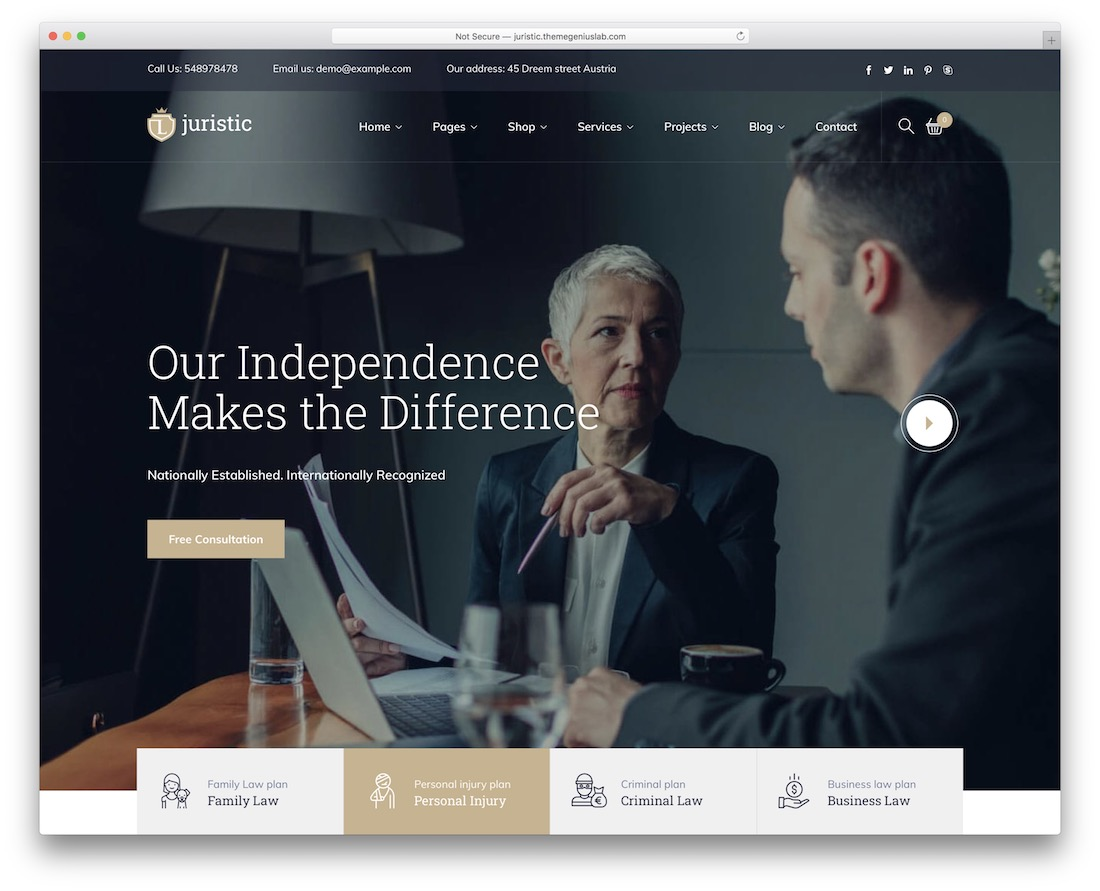 juristic lawyer wordpress theme