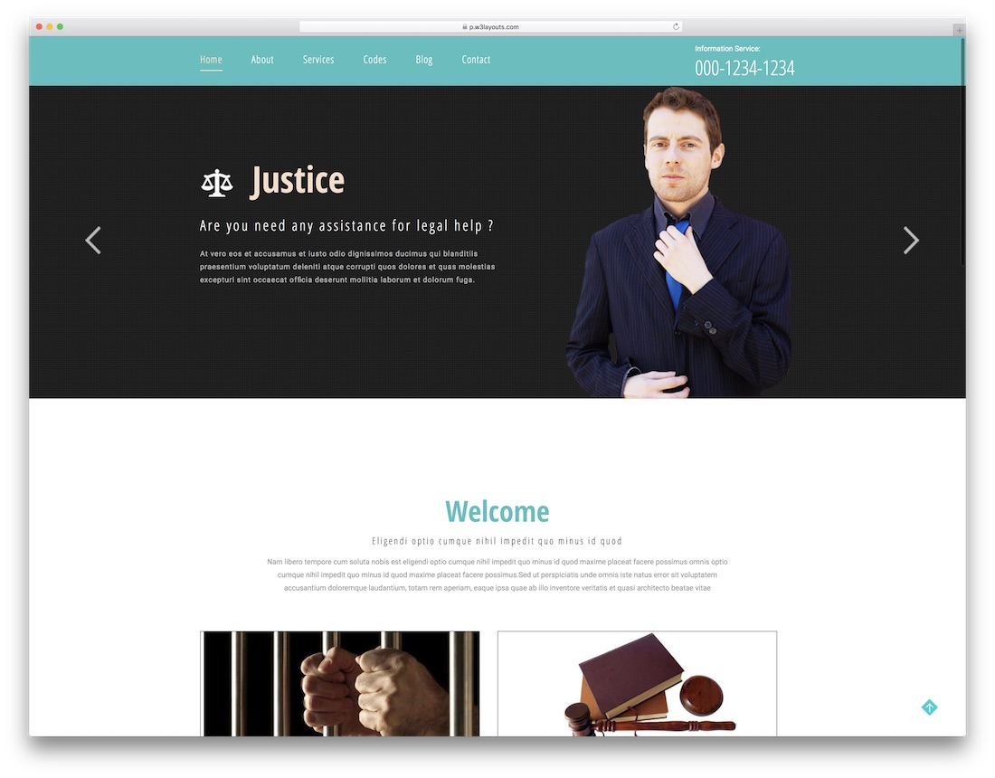 justice free lawyer website template