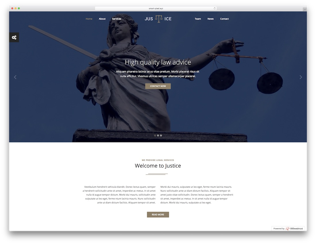 justice lawyer website template