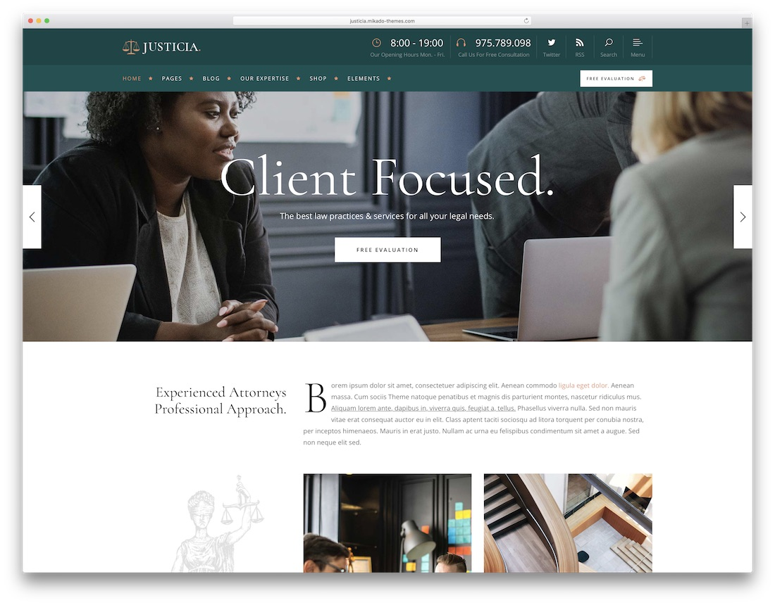 justicia lawyer wordpress theme
