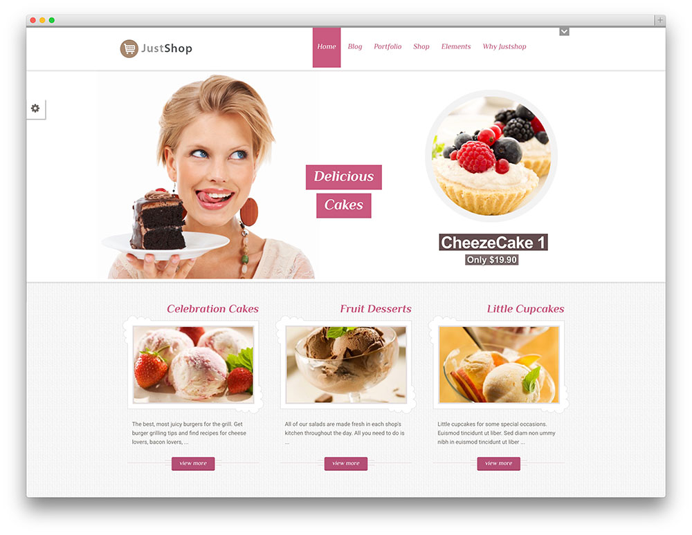 justshop bakery WordPress template