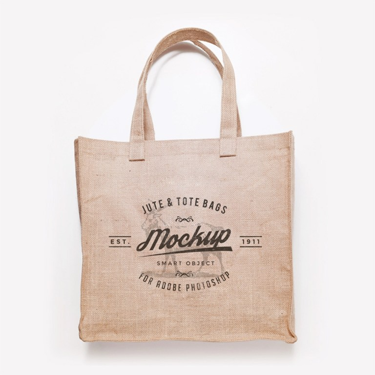 jute bag design psd mockup