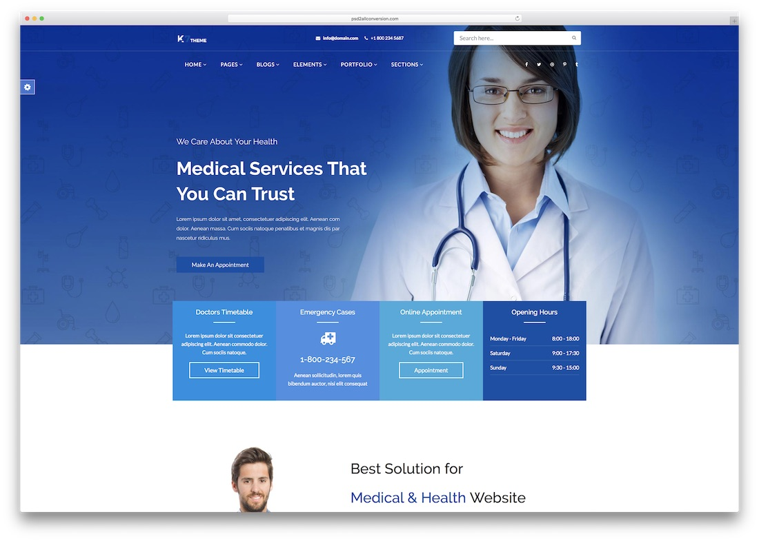 k7 medical website template