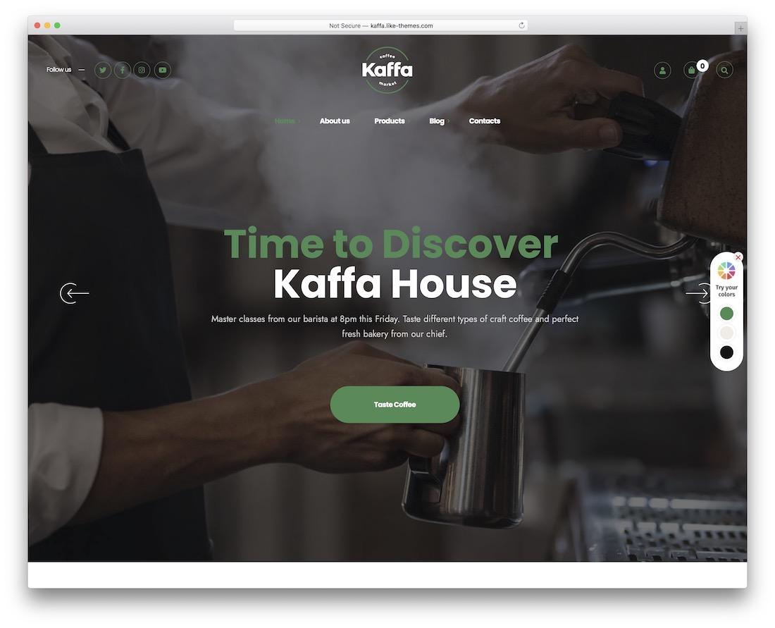 kaffa coffee shop wordpress theme