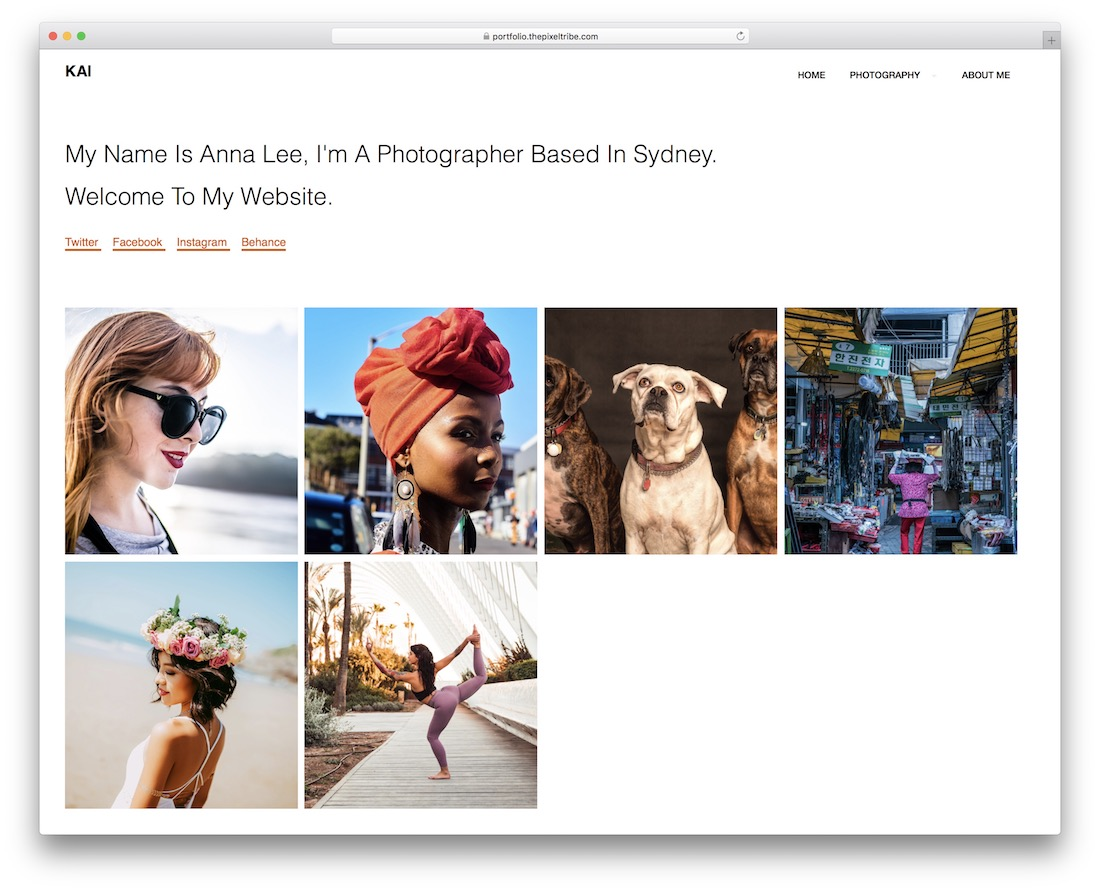 kai free photography wordpress theme