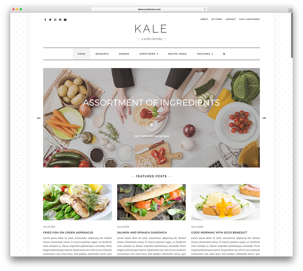 25 awesome food wordpress themes to share recipes 2018 colorlib kale is a clean and responsive wordpress food and personal blog website theme this theme is a pliable toolbox for creating expressive modern blogs forumfinder Images