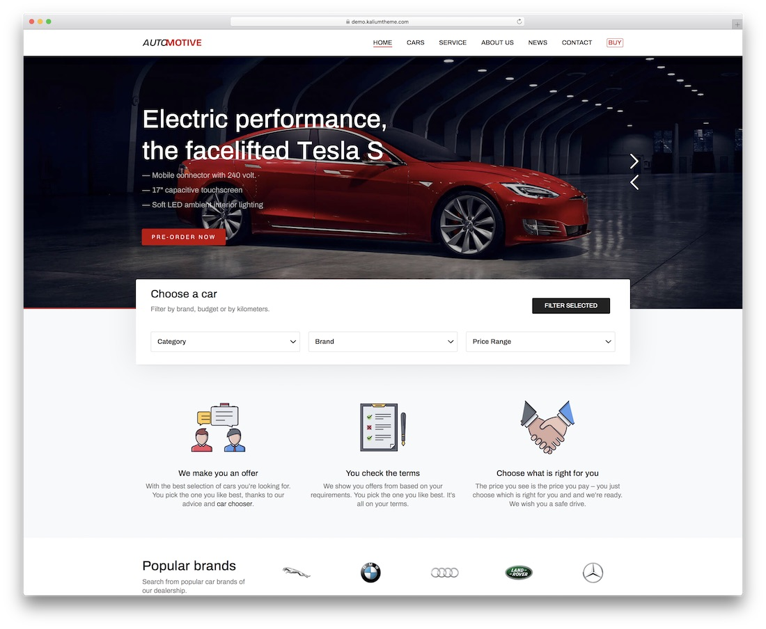 kalium car dealer wordpress theme