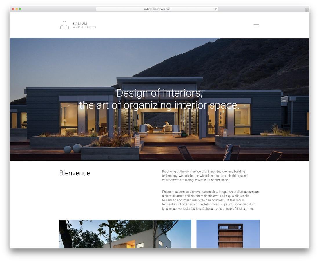 kalium construction and architecture wordpress theme