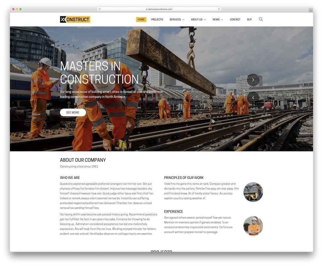 kalium construction company wordpress theme