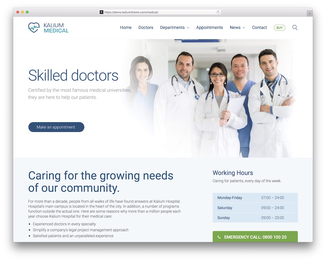 kalium doctor wordpress theme
