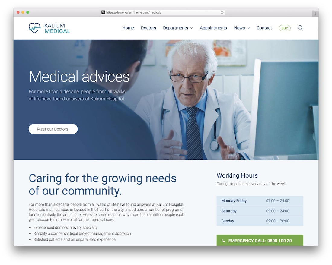 kalium health medical wordpress theme