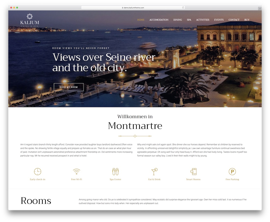 kalium hotel wordpress theme