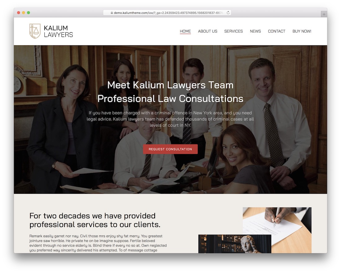 kalium lawyer wordpress theme