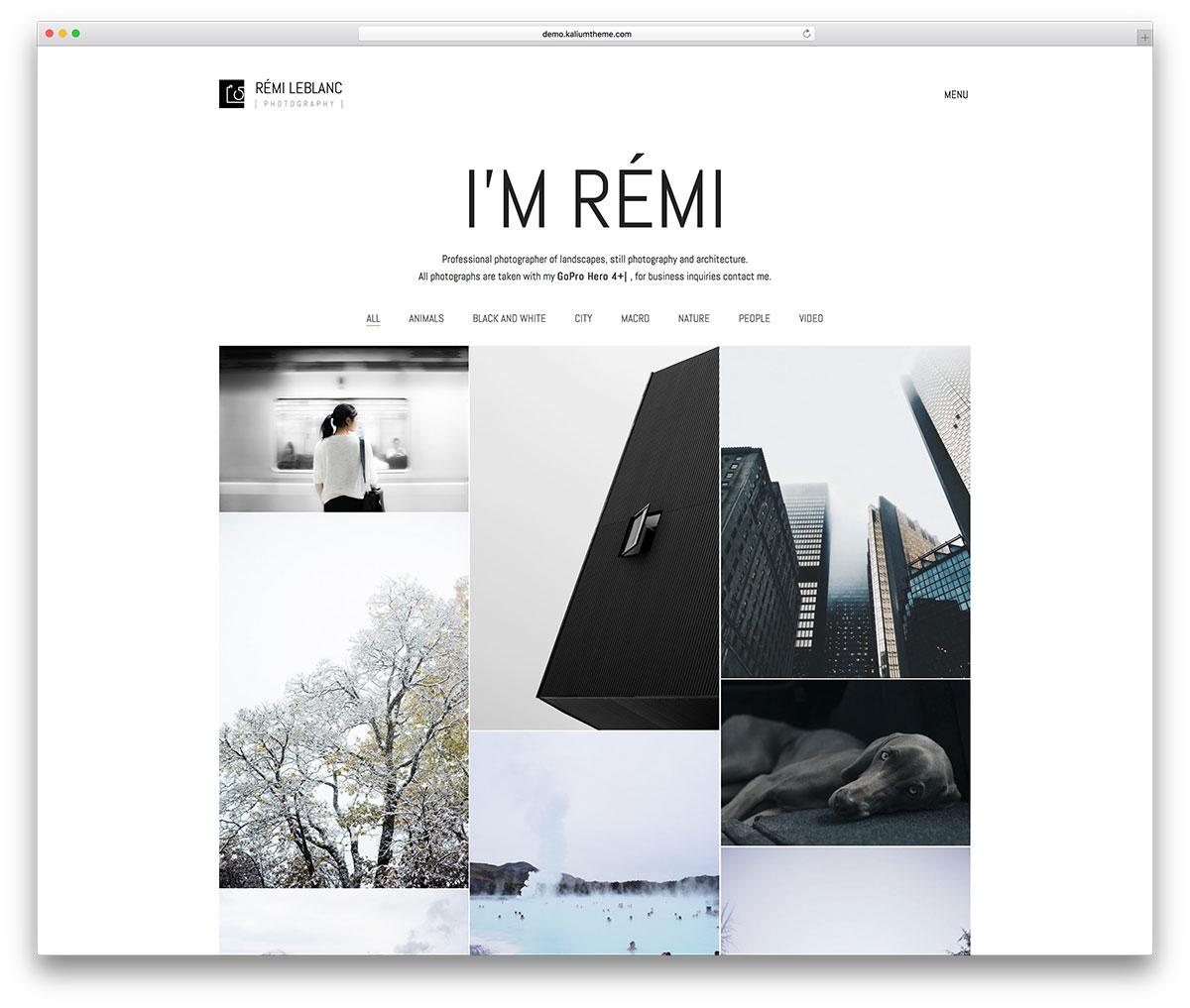 Unique portfolio photography theme