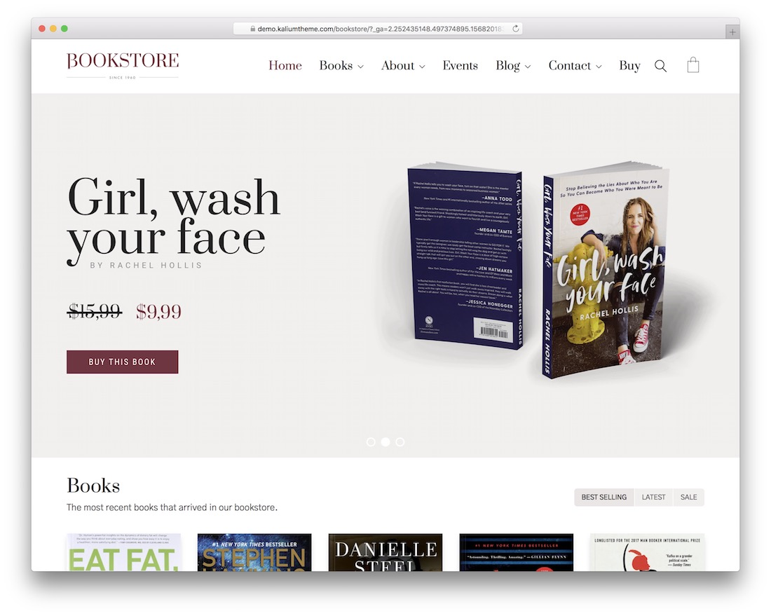 kalium wordpress bookstore theme
