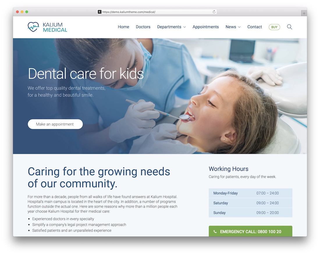 kalium wordpress dentist theme