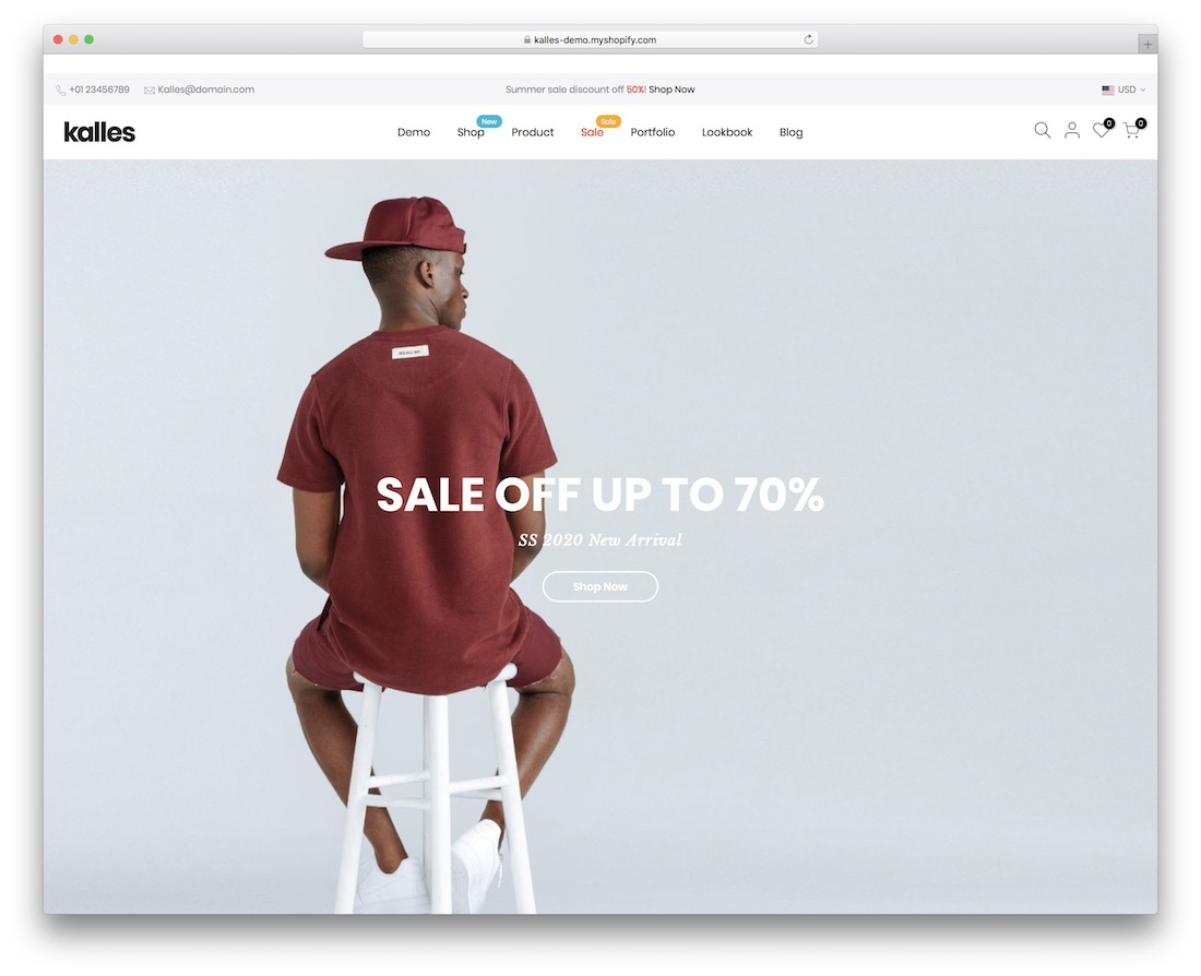 kalles shopify theme for t-shirts