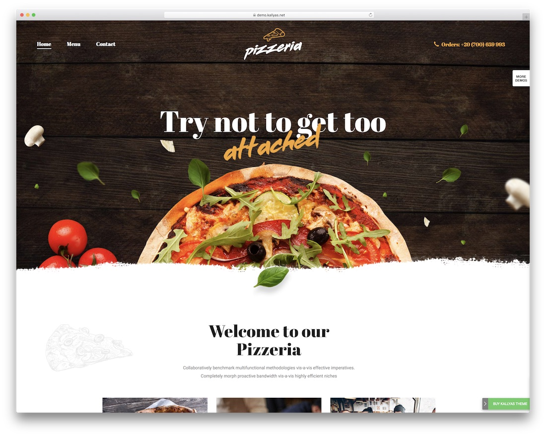 kallyas 피자 하우스 WordPress의 테마