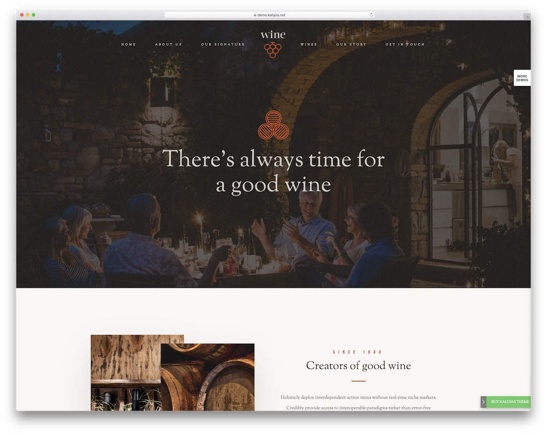 kallyas theme for wineries