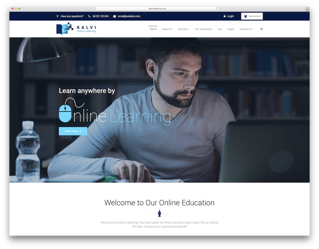 kalvi education lms wordpress theme