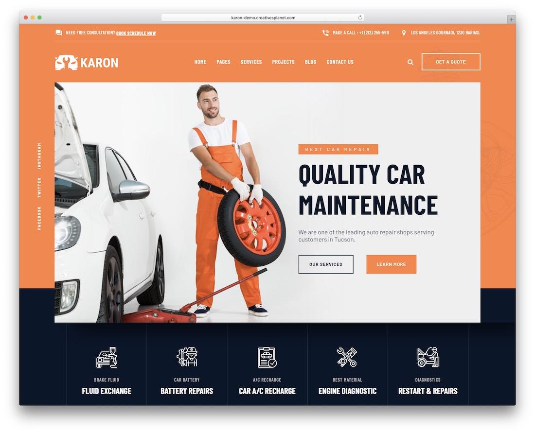 karon auto service wordpress theme