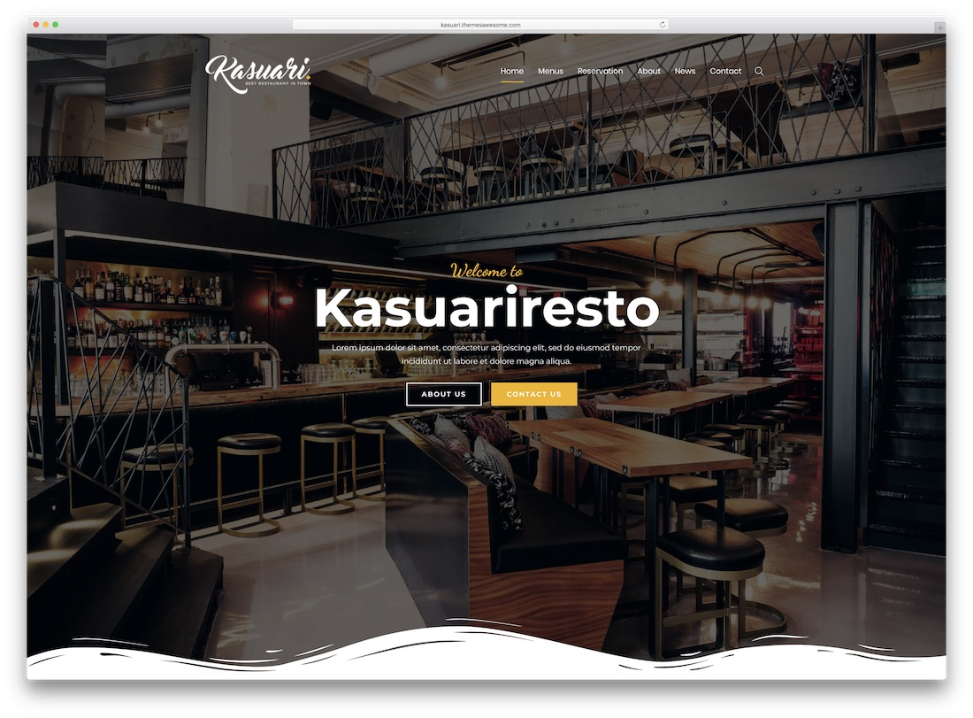 kasuari catering wordpress theme