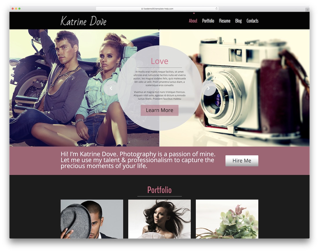 katrin best free photography website template