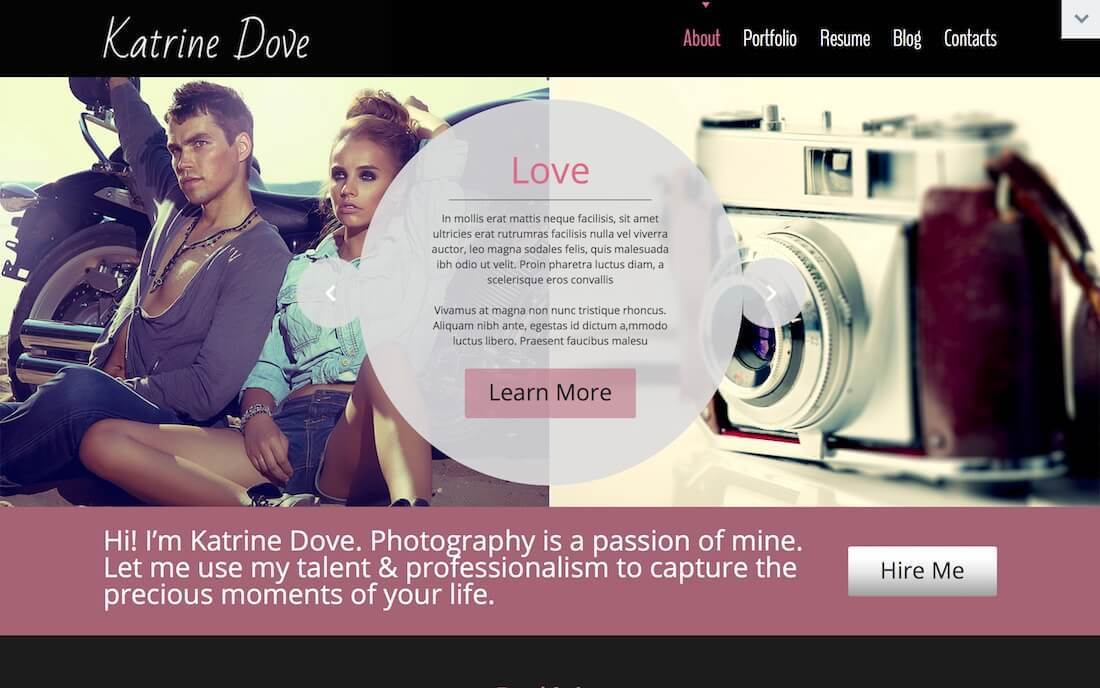 katrin free photography website template