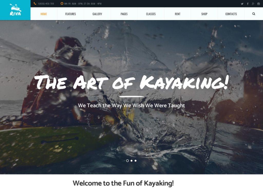 Riva   Kayaking / Paddling / Water Sports & Outdoors WordPress Theme