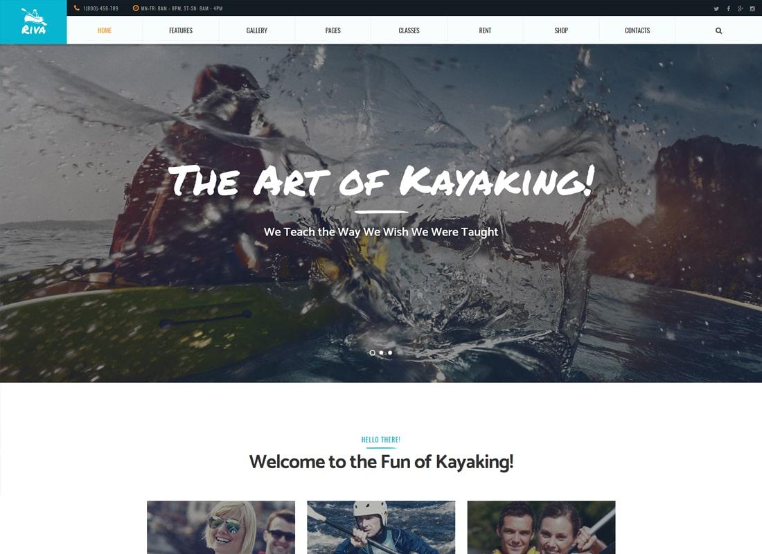 Riva | Kayaking / Paddling / Sports & Outdoors WordPress Theme